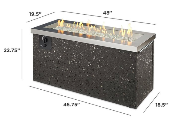 Outdoor GreatRoom Company Key Largo Fire Pit Table Stainless Steel