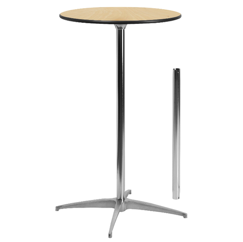 "24"" Round Adjustable Height Cocktail Table Wood Top Chrome Base"