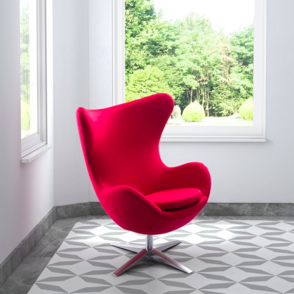 Scoop Seat Red Mid Century Modern Chair