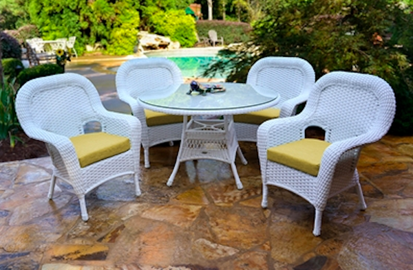 Contemporary White Wicker Outdoor Furniture Sale Tortuga Sea Pines 5 Piece Dining Set