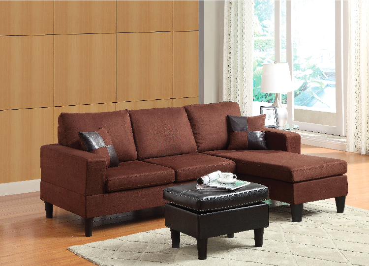 Tremendous Small Reversible Sectional Sofa Chocolate Microfiber Finish Short Links Chair Design For Home Short Linksinfo