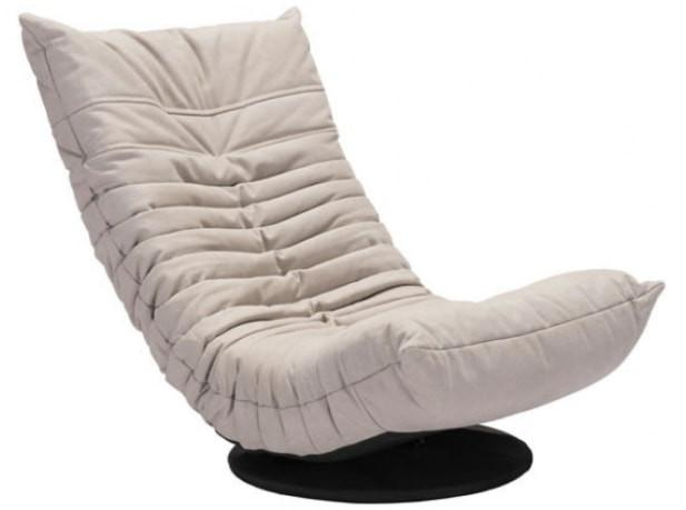 Zuo Modern Down Low Tufted Upholstered Beige Swivel Lounge Chair