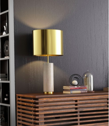 Modern Marble Table Lamp With Metal Shade Brass Finish