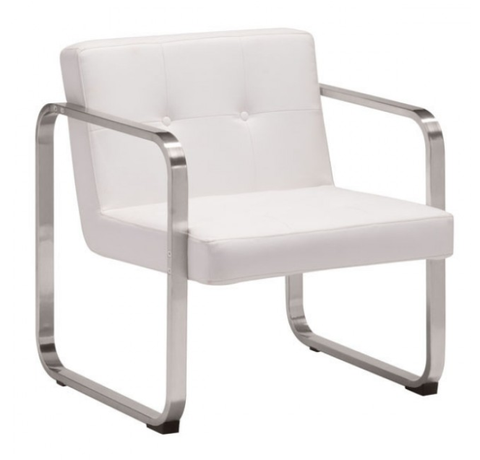 Varietal White Leather Button Tufted Arm Chair