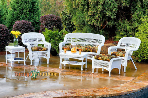 6 Piece White Wicker Outdoor Patio Furniture Sets