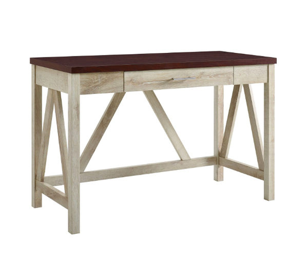 Rustic Modern Farmhouse A-Frame Desk White Oak Base Brown Top