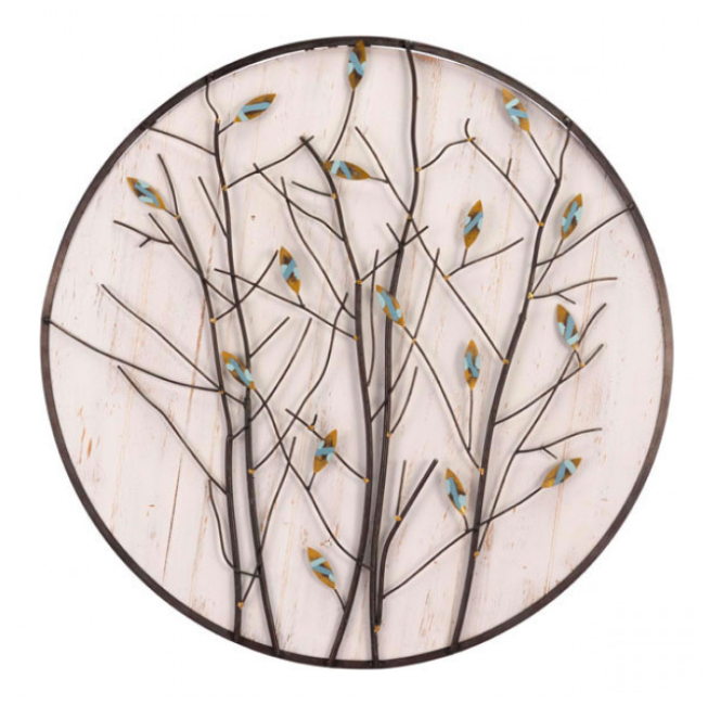Spring Theme Metal Trees & Buds Wooden Wall Decor