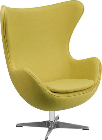 Arne Jacobsen Replica Citron Green Wool Fabric Egg Chair
