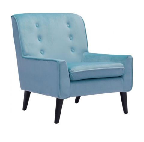 Aqua Velvet Button Back Arm Chair With Wooden Peg Legs