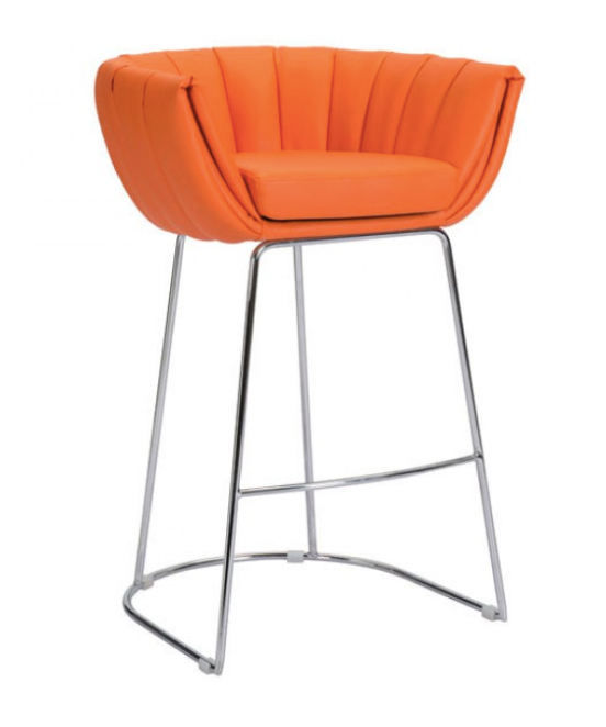 Latte Faux Leather Orange Bar Chair For Sale Online Furniture Store