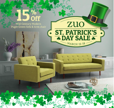 Green Sofa Set Zuo Modern Mid Century Modern Furniture