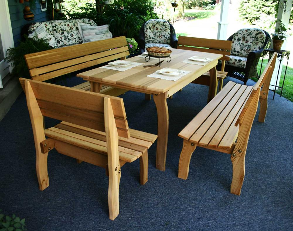"5 Piece 46"" Cedar Dining Set Red Cedar Furniture"