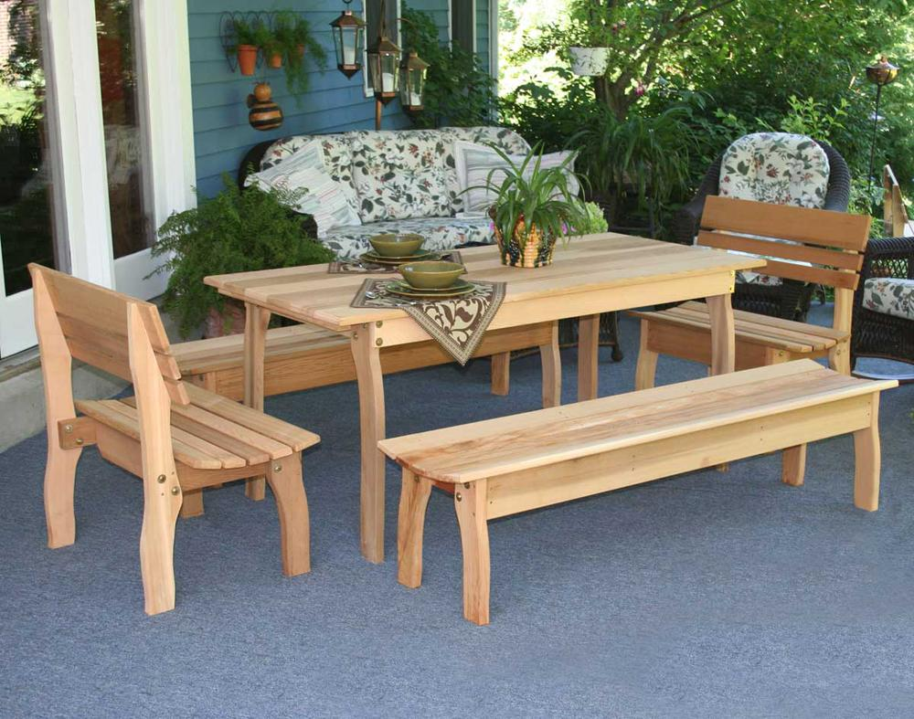 "94""L x 32""W Cedar Gathering Dining Set"