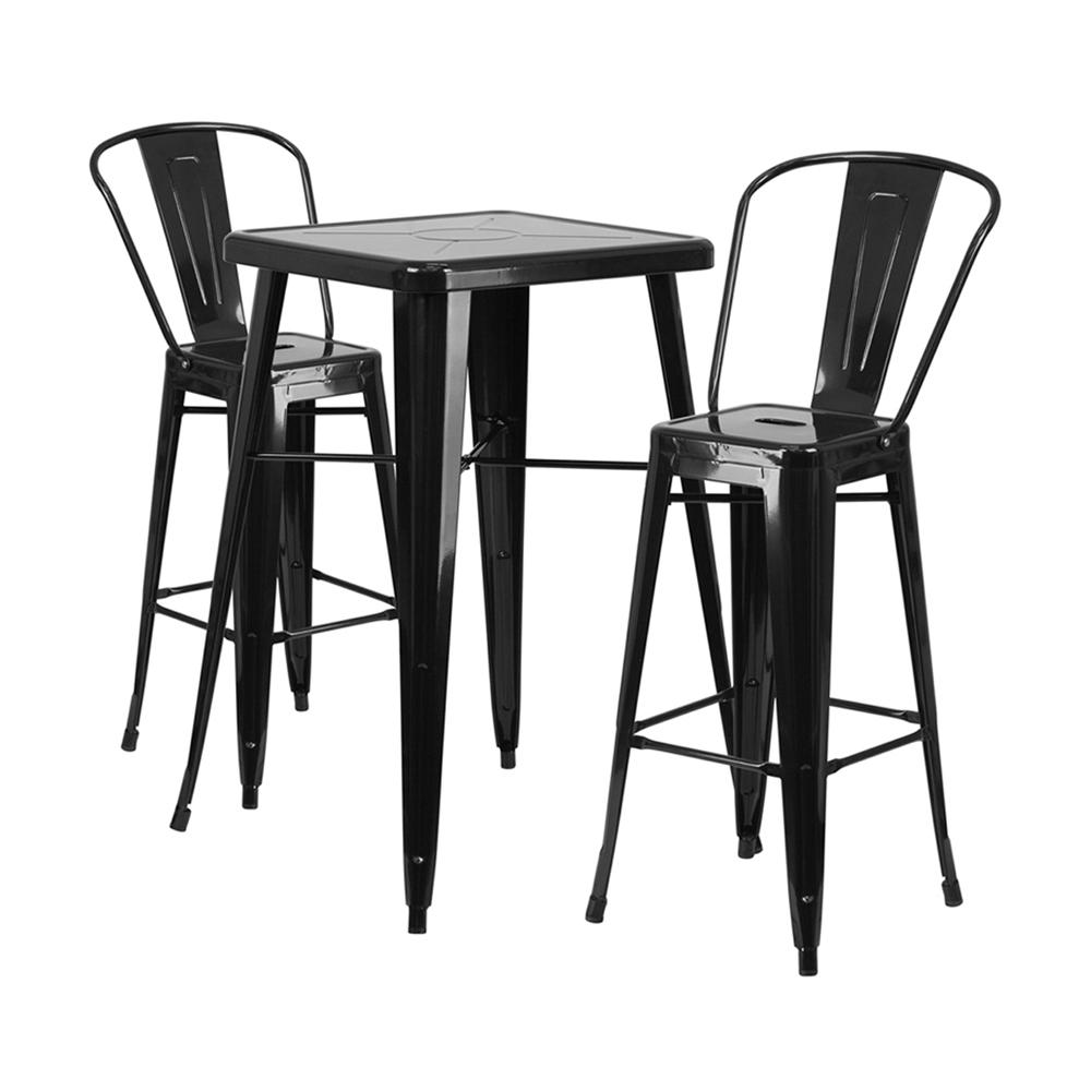 "Flash Furniture 23.75"" Square Black 3 Piece Indoor Outdoor Bar Set"