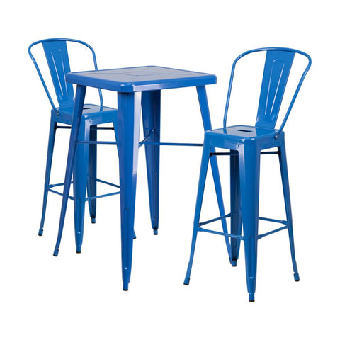 "Flash Furniture 23.75"" Square Blue 3 Piece Indoor Outdoor Bar Set"