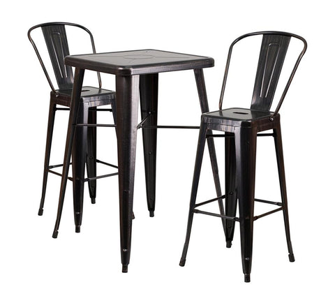 "Flash Furniture 23.75"" Square Black Gold 3 Piece Outdoor Patio Bar Set"