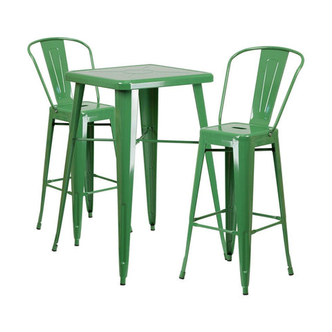 "Flash Furniture 23.75"" Square Green 3 Piece Indoor Outdoor Bar Set"