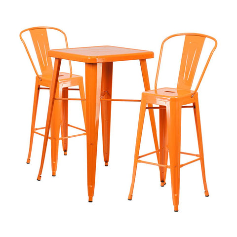 "Flash Furniture 23.75"" Square Orange 3 Piece Indoor Outdoor Bar Set"