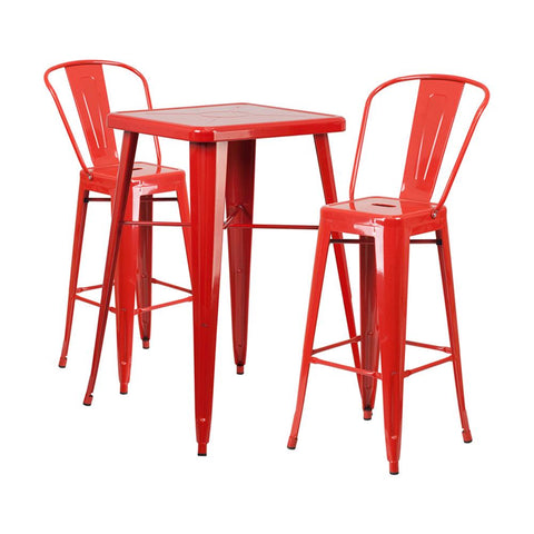 "Flash Furniture 23.75"" Square Red 3 Piece Indoor Outdoor Bar Set"