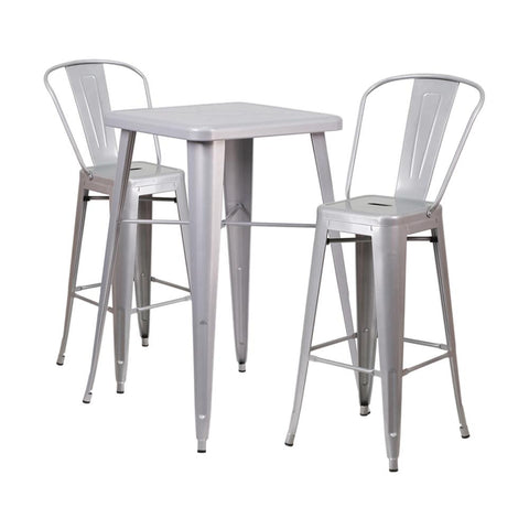 "Flash Furniture 23.75"" Square Silver 3 Piece Indoor Outdoor Bar Set"