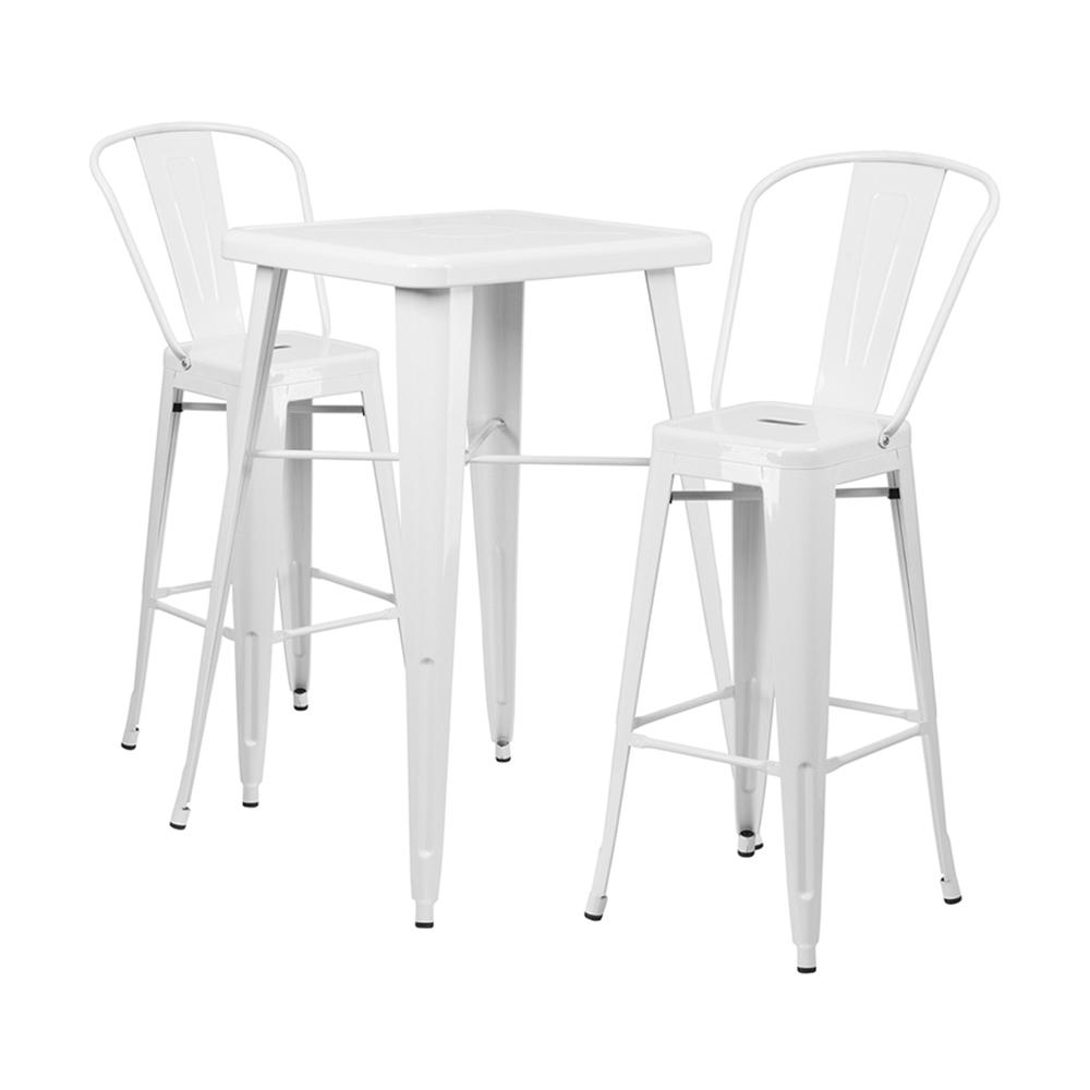 "Flash Furniture 23.75"" Square White 3 Piece Indoor Outdoor Bar Set"