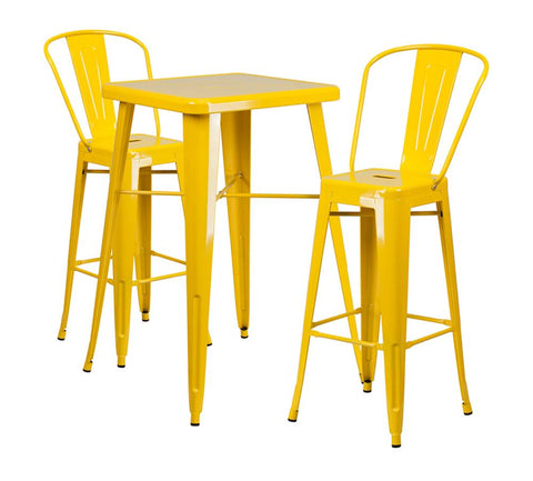 "Flash Furniture 23.75"" Square Yellow 3 Piece Indoor Outdoor Bar Set"