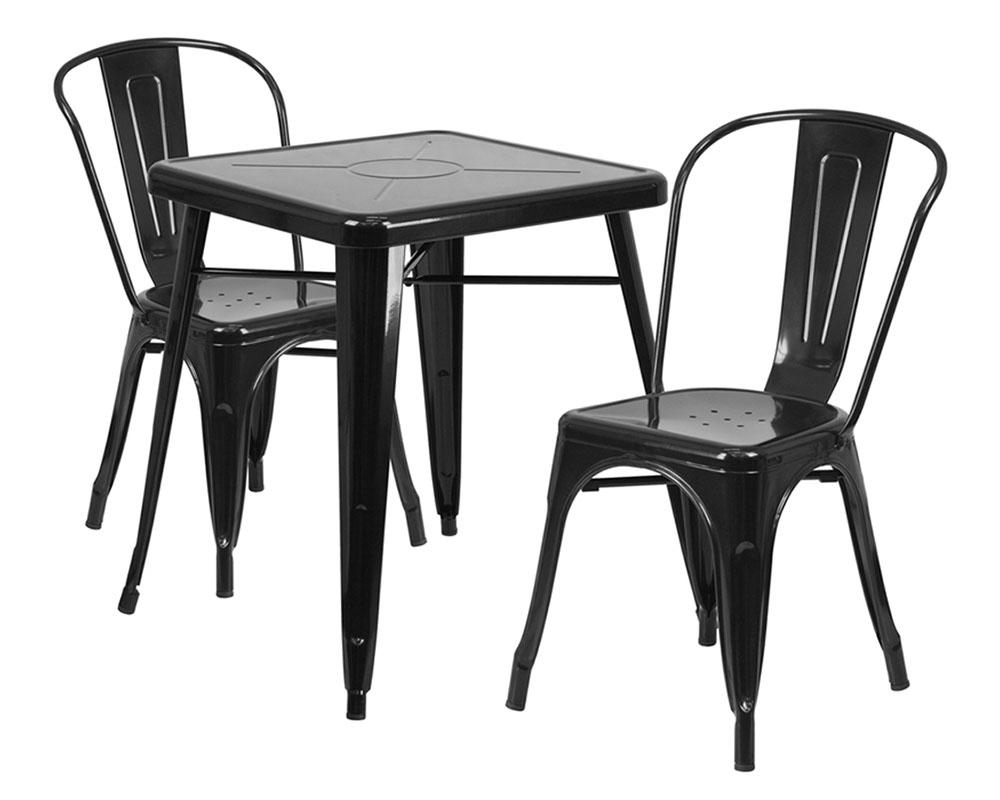 "Flash Furniture 23.75"" Square Black Metal 3 Piece Table Set"