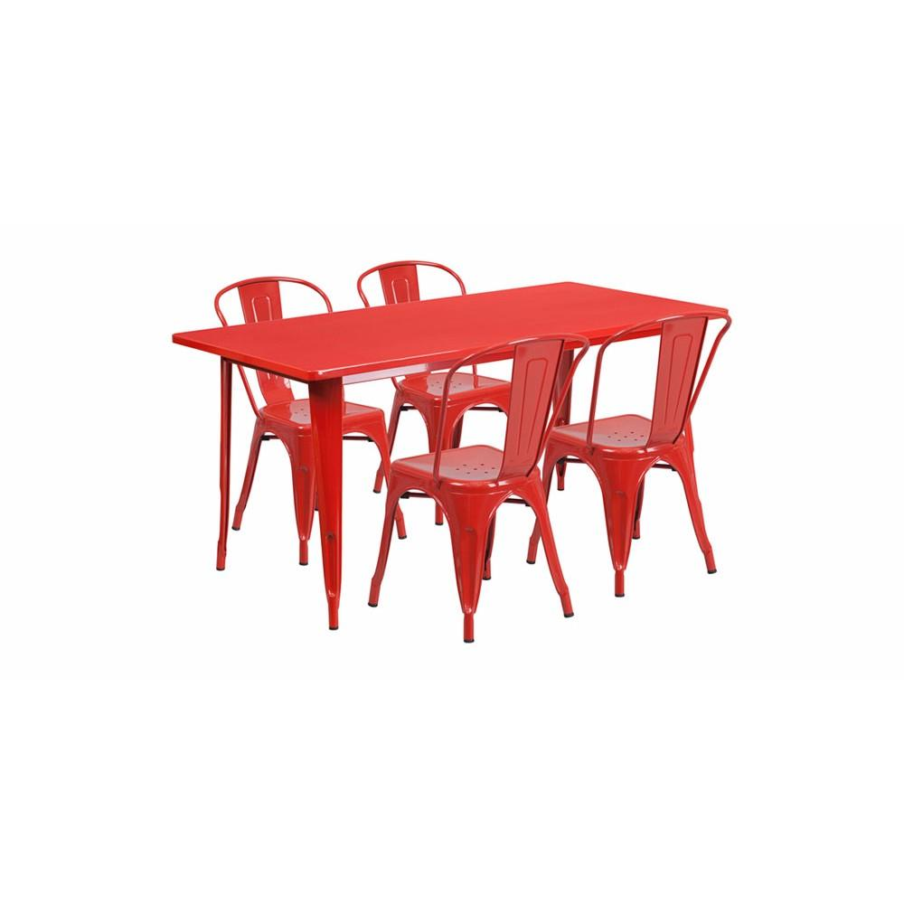 "Flash Furniture 31.5"" Rectangular Table Red Metal Chair Set"