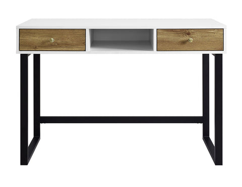 Modern Farmhouse Desk With Drawers Two Tone White Barn Wood