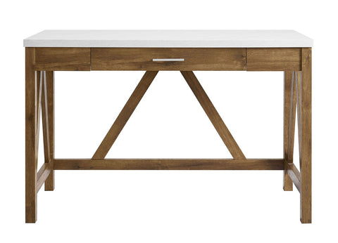 Rustic Wood Farmhouse Table A-Frame Natural Walnut Marble Top