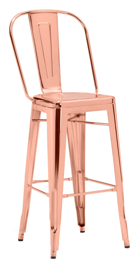 Zuo Modern Rose Gold Bar Stool