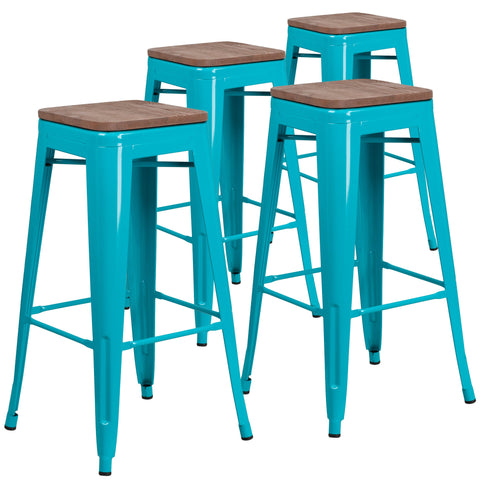 "4 Pack 30"" High Backless Barstools With Wood Seat Teal Color"
