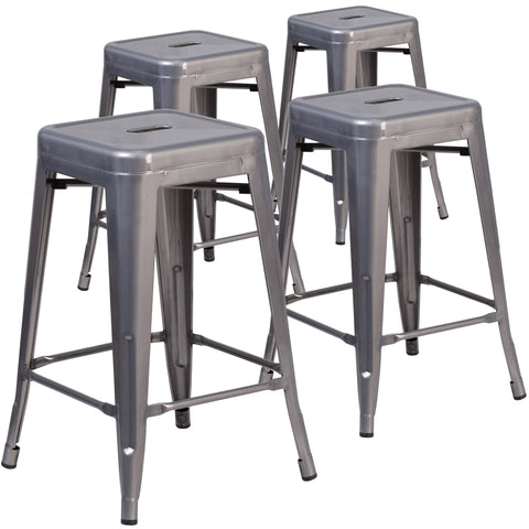 4 Pk. 24'' High Backless Metal Indoor Barstool with Square Seat: Clear Coated