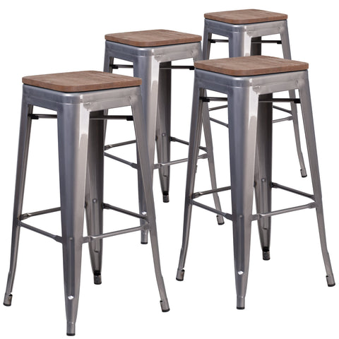 "4 Pk. 30"""" High Backless Metal Barstool with Square Wood Seat: Clear Coated"