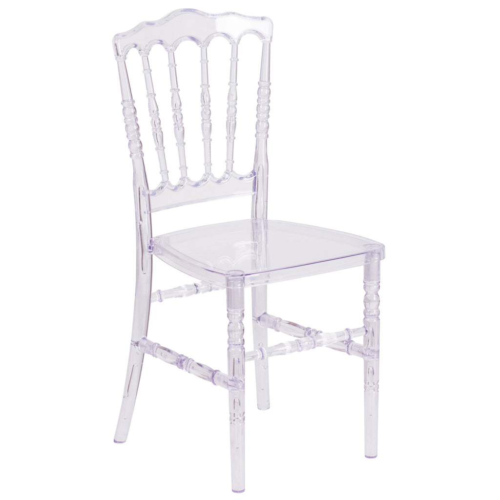 Flash Elegance Napoleon Stacking Chair: Crystal Ice