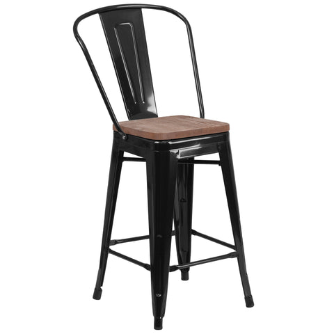"24"""" High Metal Counter Height Stool with Back and Wood Seat: Black"