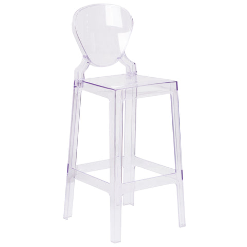 Ghost Barstool in Transparent Crystal with Tear Back: Transparent Crystal