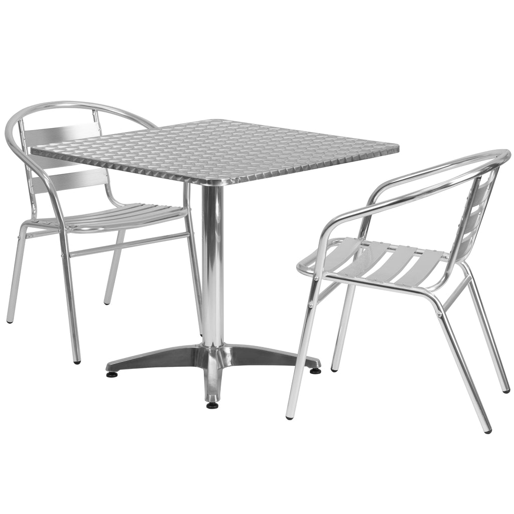 "Flash Furniture 3 Piece Patio Set 31.5"" Square Table Aluminum Chairs"