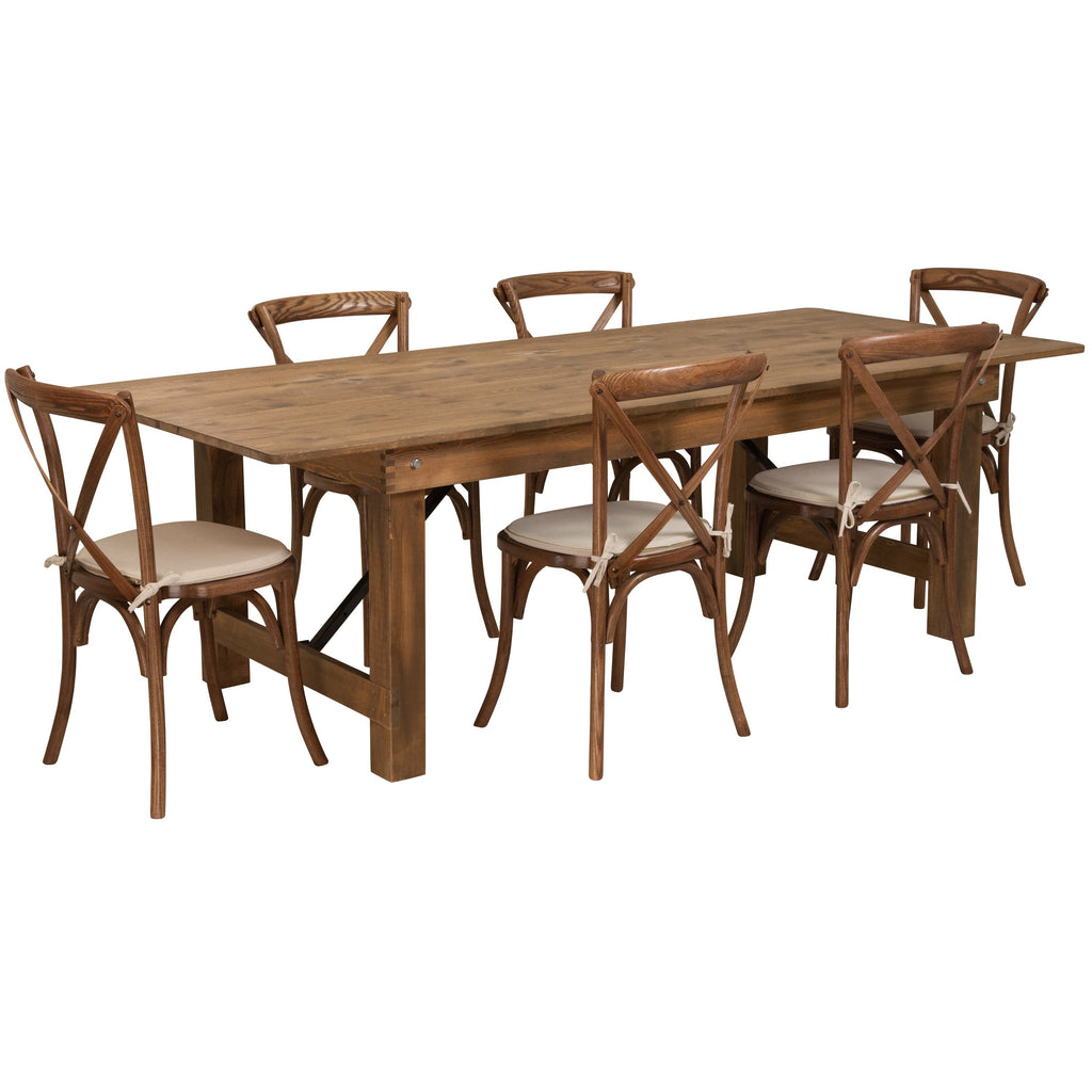 Flash Furniture Hercules 8' x 40'' Wood Folding Table Set 6 Chairs