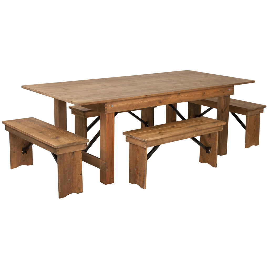 "Flash Furniture Hercules 7' x 40"" Wood Folding Table Four Bench Set"