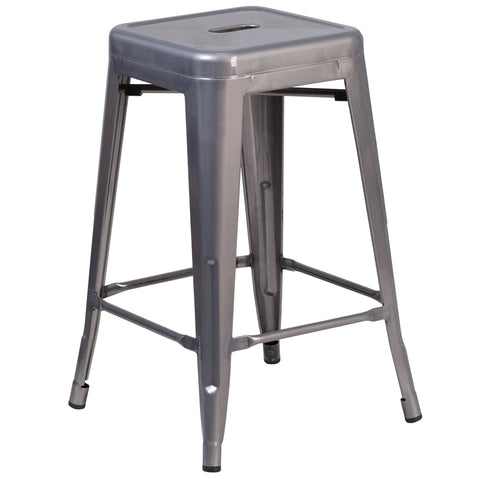 24'' High Backless Metal Indoor Barstool with Square Seat: Clear Coated
