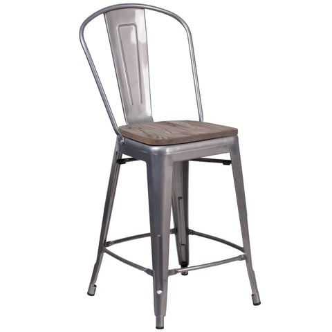 "24"""" High Counter Height Stool with Back and Wood Seat: Clear Coated"