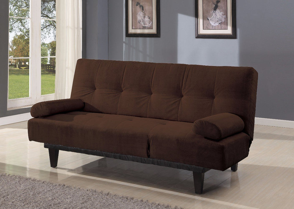 Adjustable Microfiber Sofa Bed With Two Arm Pillows, Brown