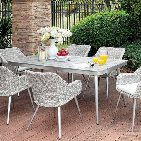 7 Piece Patio Set With Silver Tapered Legs Plank Style