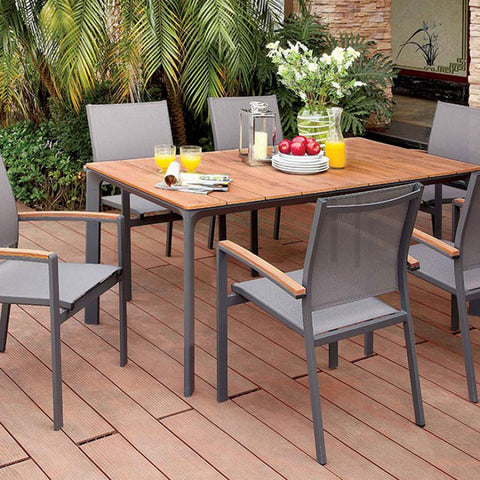 Industrial Design 7 Piece Patio Set Plank Style Rectangular Table Top