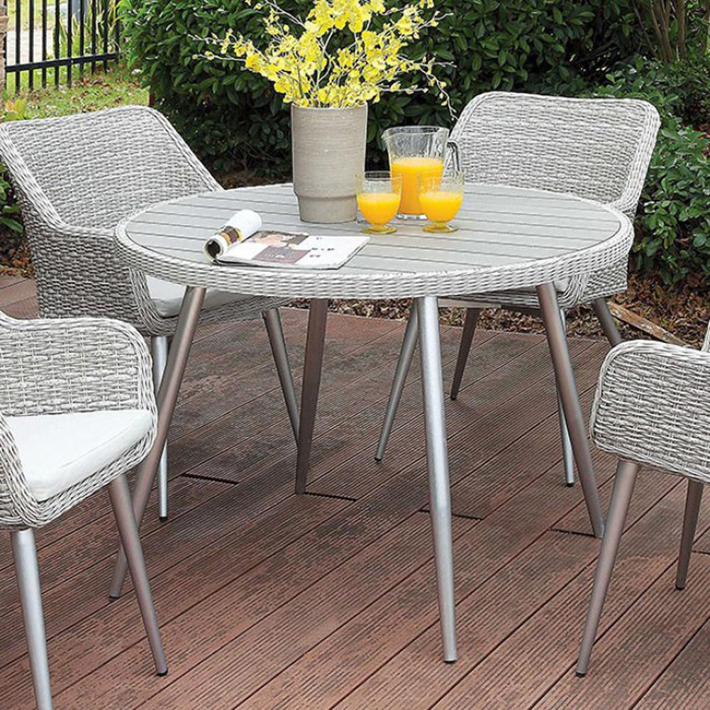 "5 Piece Patio Set 46"" Round Table Silver Tapered Metal Legs"