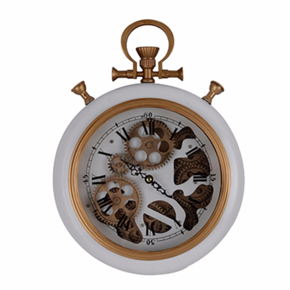 Traditional Wall Clock With Golden Accents, Pure White