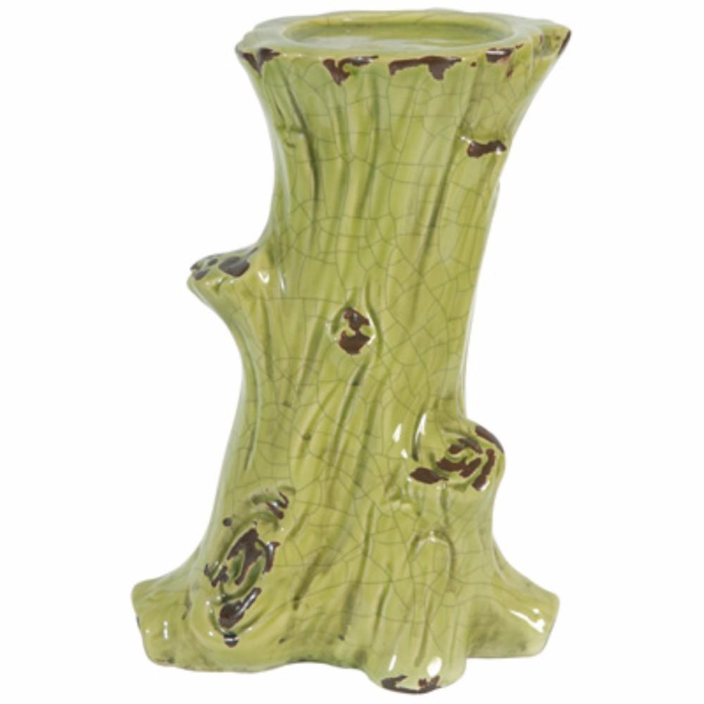 Stylish Tree trunk Candle Holder, Green