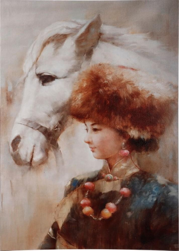 Lady with a Horse Print Painting