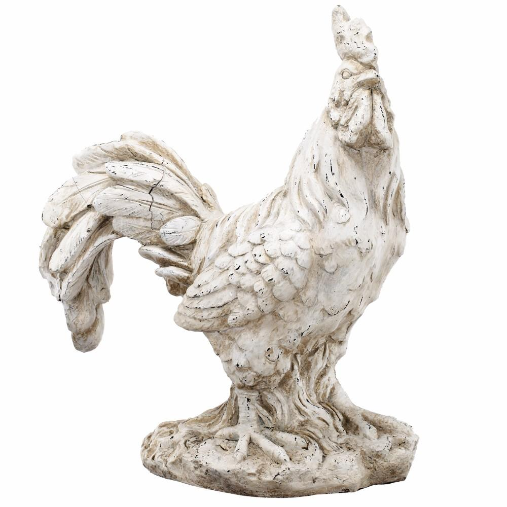 Old Age Look Rooster In Distressed White